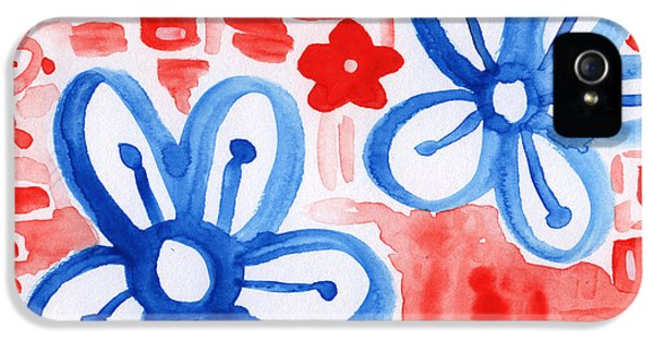 Red White And Blue iPhone 5 Cases - Blue Flowers- floral painting iPhone 5 Case by Linda Woods