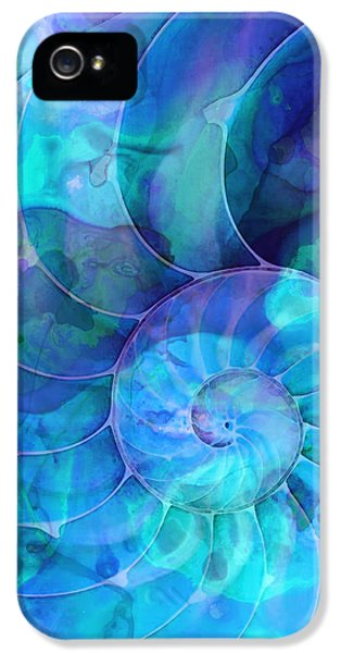 Abstract Canvas iPhone 5 Cases - Blue Nautilus Shell By Sharon Cummings iPhone 5 Case by Sharon Cummings