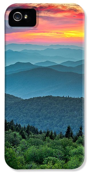 Outdoors iPhone 5 Cases - Blue Ridge Parkway Sunset - The Great Blue Yonder iPhone 5 Case by Dave Allen