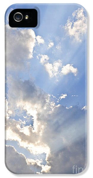 Dramatic Skies iPhone 5 Cases - Blue sky with sun rays iPhone 5 Case by Elena Elisseeva