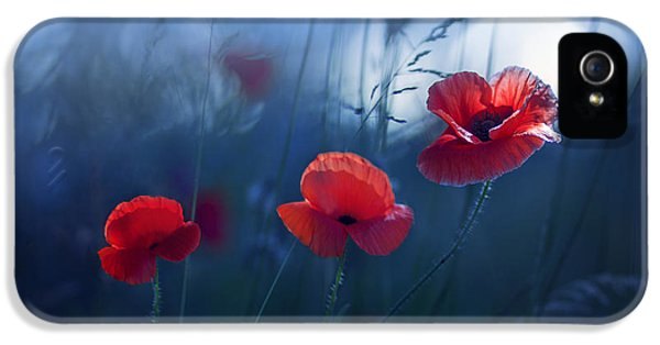 Poppy iPhone 5 Cases - Blue Summer iPhone 5 Case by Magda  Bognar