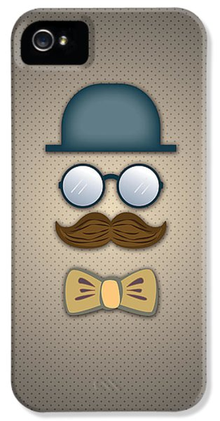 Man iPhone 5 Cases - Blue Top Hat Moustache Glasses and Bow Tie iPhone 5 Case by Ym Chin