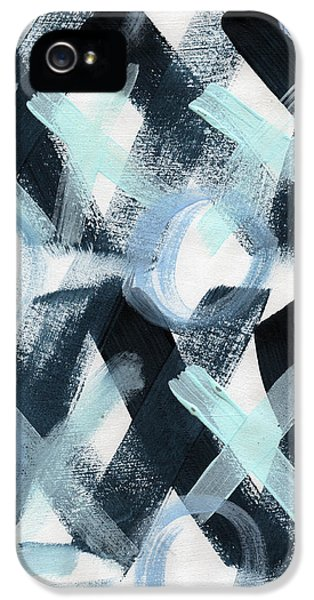 Hug iPhone 5 Cases - Blue Valentine- Abstract Painting iPhone 5 Case by Linda Woods