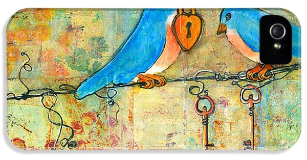 Blue Bird iPhone 5 Cases - Bluebird Painting - Art Key to My Heart iPhone 5 Case by Blenda Studio