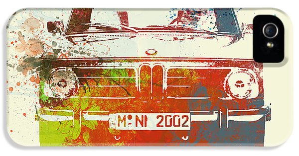 German Classic Cars iPhone 5 Cases - BMW 2002 Front Watercolor 2 iPhone 5 Case by Naxart Studio