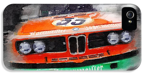 German Classic Cars iPhone 5 Cases - BMW Front End Watercolor iPhone 5 Case by Naxart Studio