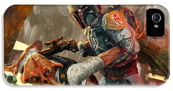War iPhone 5 Cases - Boba Fett - Star Wars the Card Game iPhone 5 Case by Ryan Barger
