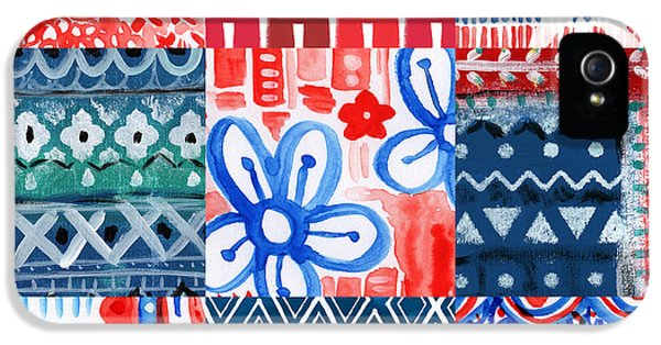 Red White And Blue iPhone 5 Cases - Boho Americana- patchwork painting iPhone 5 Case by Linda Woods