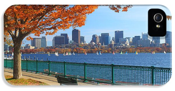 Foliage iPhone 5 Cases - Boston Charles River in Autumn iPhone 5 Case by John Burk