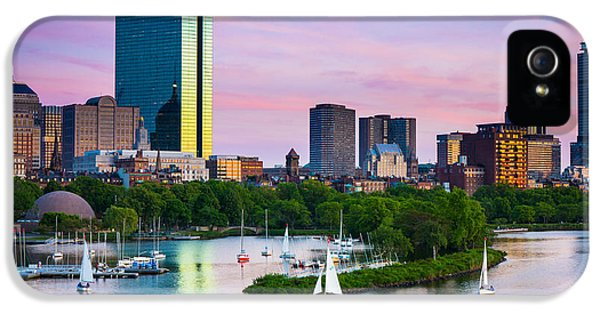 Reflective iPhone 5 Cases - Boston Skyline iPhone 5 Case by Inge Johnsson