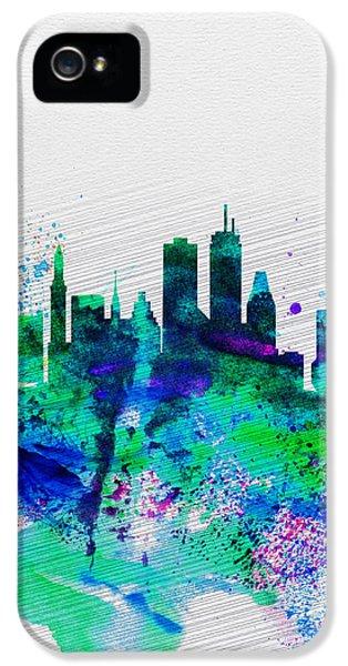 Boston iPhone 5 Cases - Boston Watercolor Skyline iPhone 5 Case by Naxart Studio