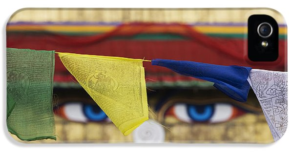 Third Eye iPhone 5 Cases - Boudhanath Stupa Prayer Flags iPhone 5 Case by Tim Gainey