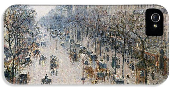 United_states iPhone 5 Cases - Boulevard Montmartre on a winter morning iPhone 5 Case by Celestial Images