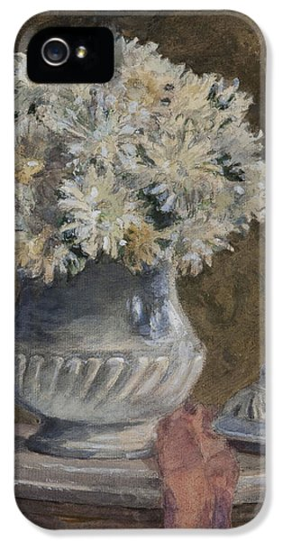 Bouquet iPhone 5 Cases - Bouquet Of Flowers Wc On Paper iPhone 5 Case by Henri Duhem