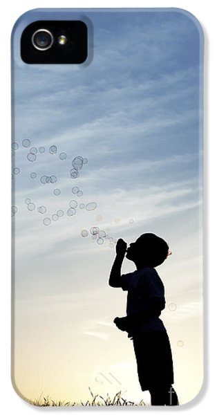 Blowing iPhone 5 Cases - Boy Blowing Bubbles iPhone 5 Case by Tim Gainey