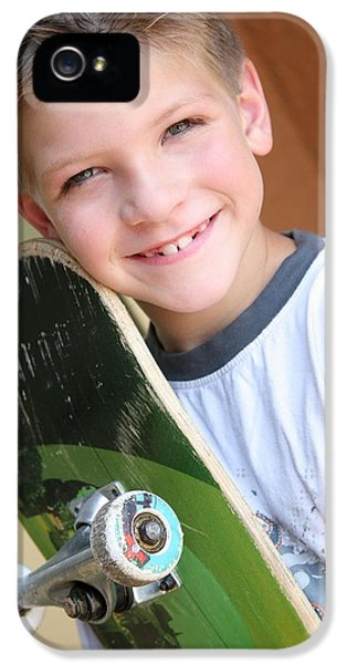 Boys Only iPhone 5 Cases - Boy With Skateboard iPhone 5 Case by Colleen Cahill