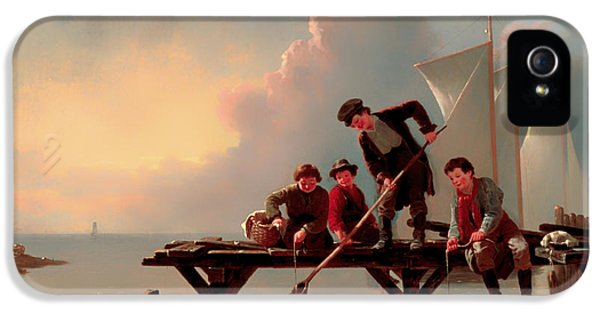 Crabbing iPhone 5 Cases - Boys Crabbing iPhone 5 Case by William Raney