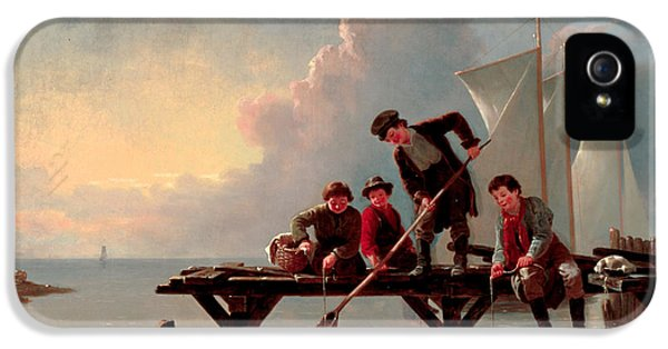 Crabbing iPhone 5 Cases - Boys Crabbing iPhone 5 Case by William Ranney