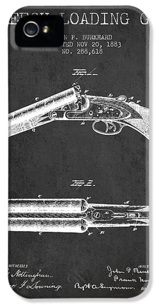 Rifle iPhone 5 Cases - Breech Loading Gun Patent Drawing from 1883 - Dark iPhone 5 Case by Aged Pixel