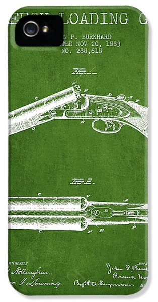 Rifle iPhone 5 Cases - Breech Loading Gun Patent Drawing from 1883 - Green iPhone 5 Case by Aged Pixel