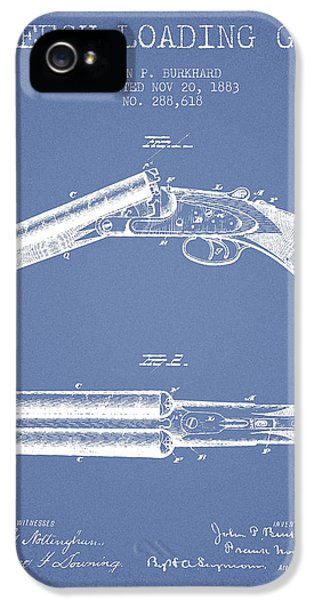 Rifle iPhone 5 Cases - Breech Loading Gun Patent Drawing from 1883 - Light Blue iPhone 5 Case by Aged Pixel