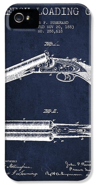 Rifle iPhone 5 Cases - Breech Loading Gun Patent Drawing from 1883 - Navy Blue iPhone 5 Case by Aged Pixel
