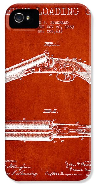 Rifle iPhone 5 Cases - Breech Loading Gun Patent Drawing from 1883 - Red iPhone 5 Case by Aged Pixel