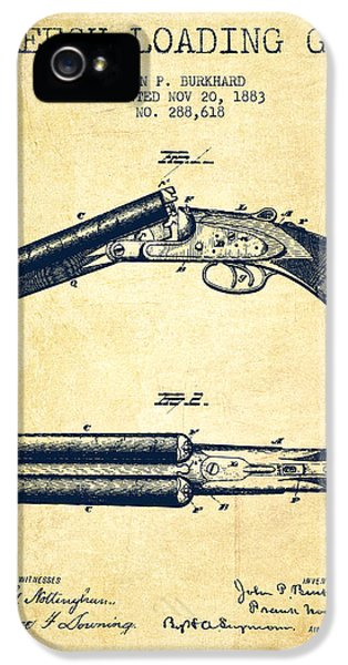 Rifle iPhone 5 Cases - Breech Loading Gun Patent Drawing from 1883 - Vintage iPhone 5 Case by Aged Pixel