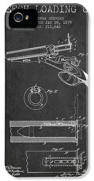Rifle iPhone 5 Cases - Breech Loading Shotgun Patent Drawing from 1879 - Dark iPhone 5 Case by Aged Pixel