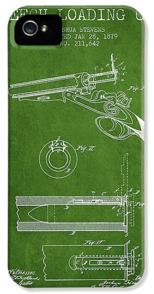 Rifle iPhone 5 Cases - Breech Loading Shotgun Patent Drawing from 1879 - Green iPhone 5 Case by Aged Pixel