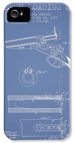 Rifle iPhone 5 Cases - Breech Loading Shotgun Patent Drawing from 1879 - Light Blue iPhone 5 Case by Aged Pixel