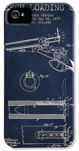 Rifle iPhone 5 Cases - Breech Loading Shotgun Patent Drawing from 1879 - Navy Blue iPhone 5 Case by Aged Pixel