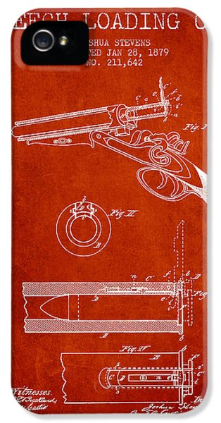 Rifle iPhone 5 Cases - Breech Loading Shotgun Patent Drawing from 1879 - Red iPhone 5 Case by Aged Pixel