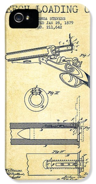 Rifle iPhone 5 Cases - Breech Loading Shotgun Patent Drawing from 1879 - Vintage iPhone 5 Case by Aged Pixel