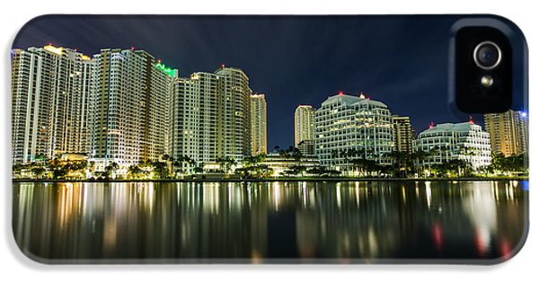 Vibrant iPhone 5 Cases - Brickell Key Night Cityscape iPhone 5 Case by Andres Leon