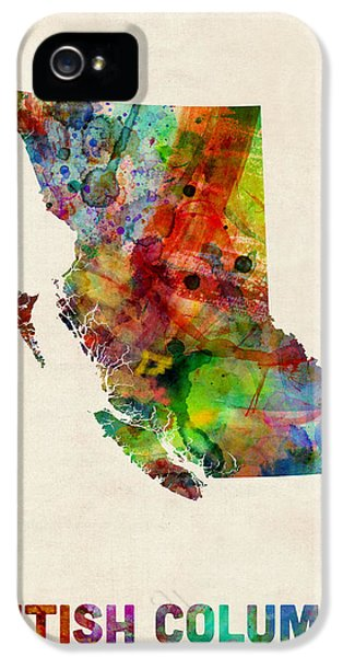 Canada iPhone 5 Cases - British Columbia Watercolor Map iPhone 5 Case by Michael Tompsett