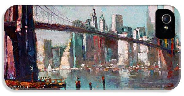 Brooklyn Bridge And Twin Towers IPhone 5 / 5s Case by Ylli Haruni