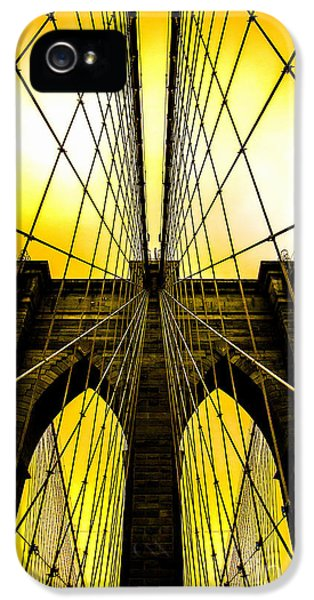 Cable iPhone 5 Cases - Brooklyn Bridge Yellow iPhone 5 Case by Az Jackson