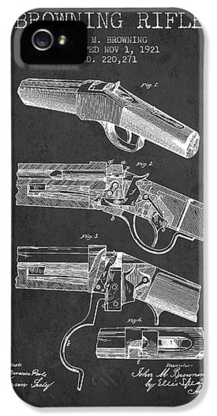 Rifle iPhone 5 Cases - Browning Rifle Patent Drawing from 1921 - Dark iPhone 5 Case by Aged Pixel