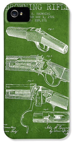 Rifle iPhone 5 Cases - Browning Rifle Patent Drawing from 1921 - Green iPhone 5 Case by Aged Pixel