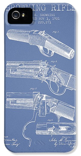 Rifle iPhone 5 Cases - Browning Rifle Patent Drawing from 1921 - Light Blue iPhone 5 Case by Aged Pixel