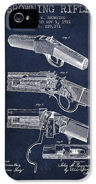 Rifle iPhone 5 Cases - Browning Rifle Patent Drawing from 1921 - Navy Blue iPhone 5 Case by Aged Pixel