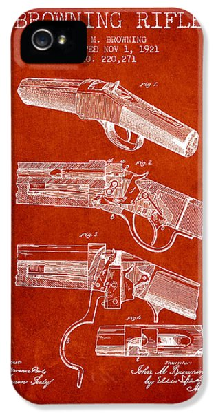 Rifle iPhone 5 Cases - Browning Rifle Patent Drawing from 1921 - Red iPhone 5 Case by Aged Pixel