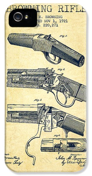 Rifle iPhone 5 Cases - Browning Rifle Patent Drawing from 1921 - Vintage iPhone 5 Case by Aged Pixel