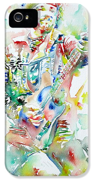 Springsteen iPhone 5 Cases - BRUCE SPRINGSTEEN PLAYING the GUITAR WATERCOLOR PORTRAIT iPhone 5 Case by Fabrizio Cassetta