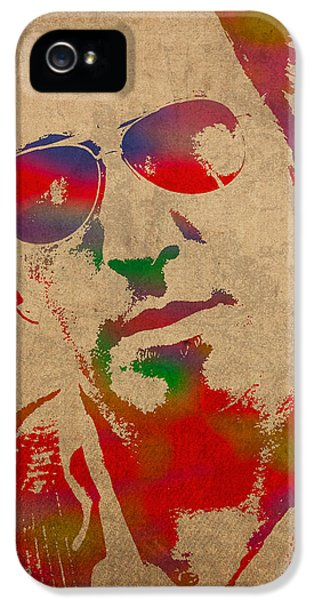 Springsteen iPhone 5 Cases - Bruce Springsteen Watercolor Portrait on Worn Distressed Canvas iPhone 5 Case by Design Turnpike