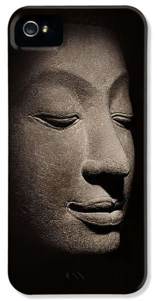 Statue Photographs iPhone 5 Cases - Buddha head from the early Ayutthaya Period iPhone 5 Case by Siamese School
