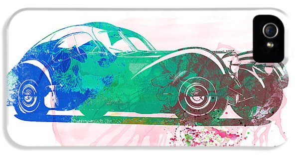 Bugatti Classic Car iPhone 5 Cases - Bugatti Atlantic Watercolor 1 iPhone 5 Case by Naxart Studio