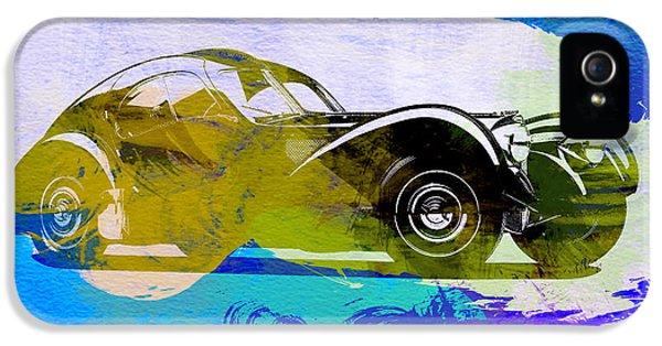Bugatti Classic Car iPhone 5 Cases - Bugatti Atlantic Watercolor 2 iPhone 5 Case by Naxart Studio