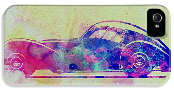Bugatti Classic Car iPhone 5 Cases - Bugatti Atlantic Watercolor 3 iPhone 5 Case by Naxart Studio